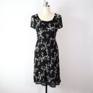 vintage 90s dark neutral floral dress 4 S grunge